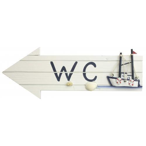 Wooden WC Arrow With Fishing Boat   Toilet Bathroom Sign Plaque Nautical  Decor