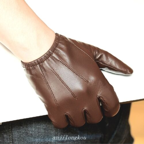 Black Brown Men/'s Police tactical Gloves 100/% real leather gloves