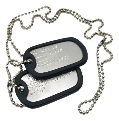 Conjunto De Par de Acero inoxidable personalizado de EE UU ejército Militar etiquetas de perro-thedogtagco