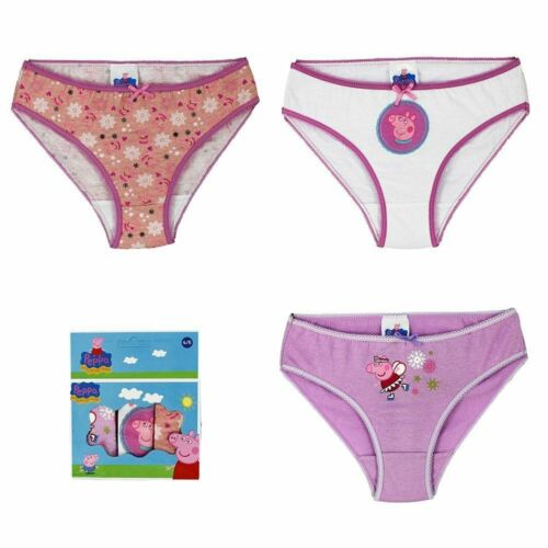 Peppa Pig Pack Of 3 Childrens Girls Underwear Briefs Knickers Size 6-8