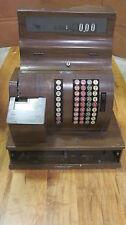 ANTIQUE NATIONAL CASH REGISTER W/ WOOD BASE & KEY MODEL # 1090 (NO DRAWER)