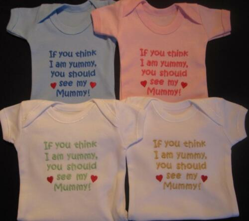 Think Im Yummy See My Mummy Baby Vest Grow Boy Girl Babies Clothes Funny Gift