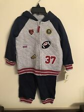 Little Me Boys 2 Piece Bulldog Quilted Sweatshirt and Pant Set Navy//White