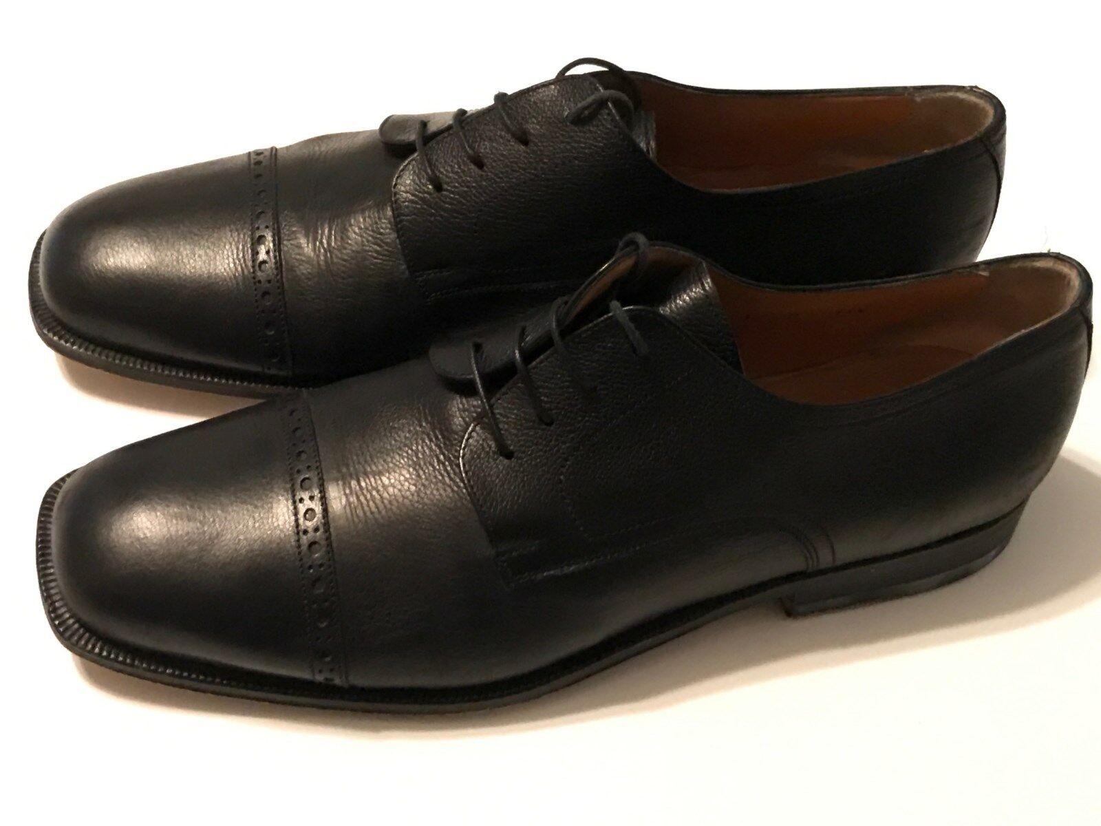 Santoni Sheridan Black Cap Toe shoes Size 11.5 D