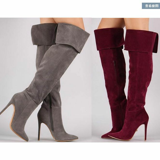 Womens Oxford Lady Pointed Toe High Heel Over Knee Boots shoes Stiletto Suede