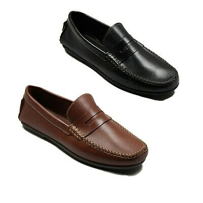 Lucini Mens Suede Leather Designer Slip On Loafers Moccasins Smart Casual Shoes
