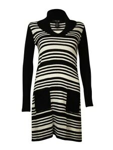 Style-amp-Co-Women-039-s-Striped-Lurex-Knit-Pocket-Sweater-Dress