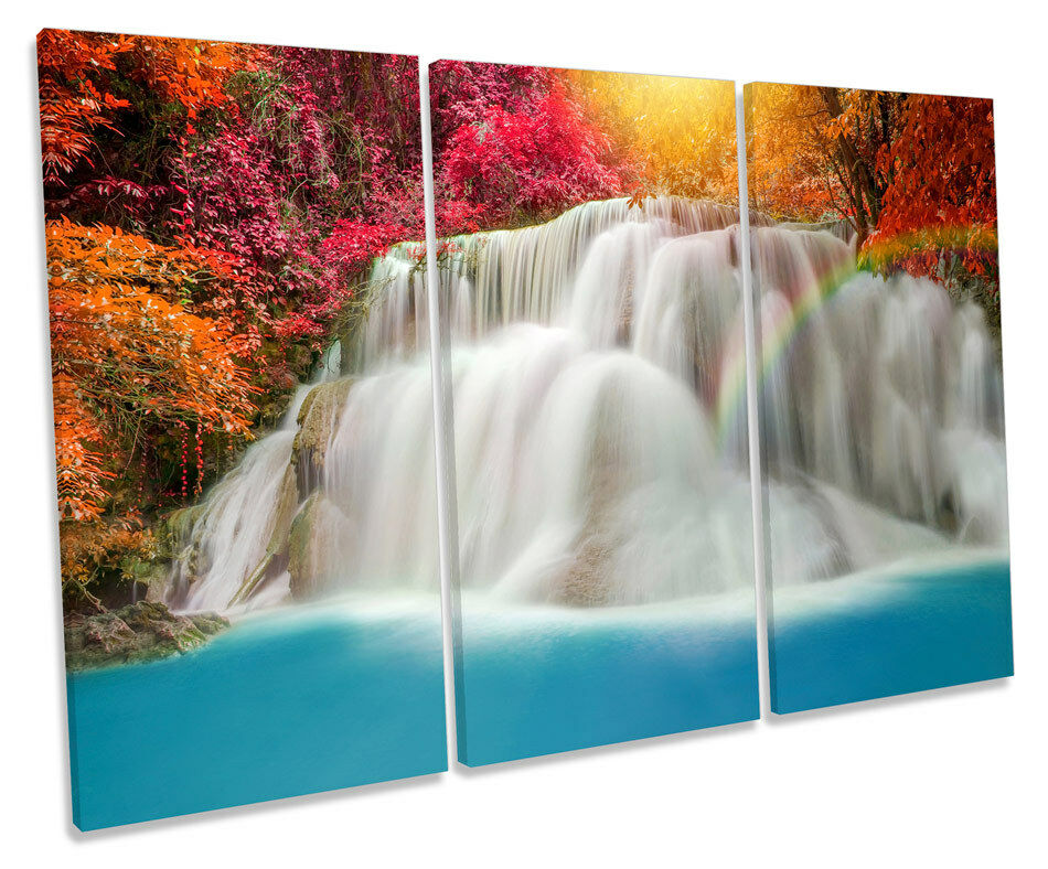 Tropical Waterfall Forest TREBLE CANVAS Wand Kunst Box Framed Drucken