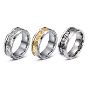 Image Is Loading 8MM Gold Silver Dragon Stainless Steel Men Wedding