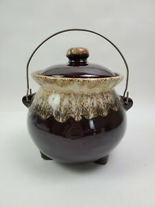 Vintage-Brown-Drip-Glaze-Footed-Ceramic-Cauldron-Pot-With-Lid-amp-Handle-USA-McCoy