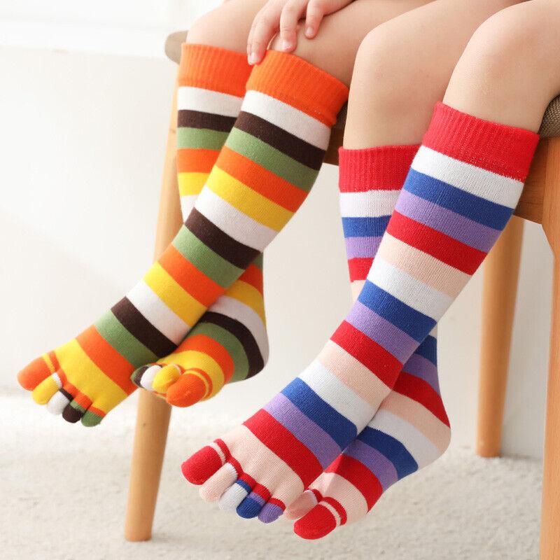 5 Pairs Kids Children Toes Socks Five Fingers Striped Stocking Dance School Cute
