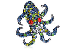 Hot selling 3colors Antique Womens Crystal Rhinestone Octopus animal Pin Brooch