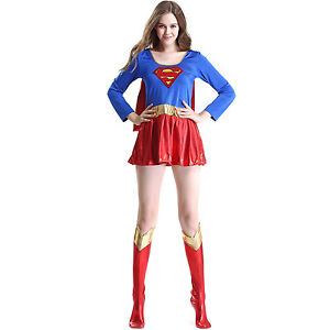 Image is loading Sexy-Super-girl-Super-women-Halloween-Cosplay-Costume-  sc 1 st  eBay & Sexy Super girl Super women Halloween Cosplay Costume Superman Dress ...