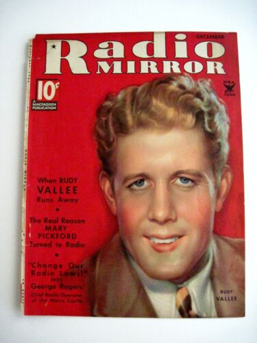 "Vintage Dec.1934 ""Radio Mirror"" Magazine Cover Only w Picture Of Rudy Vallee"