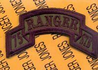 75th Infantry STB AIRBORNE RANGER Regiment OD Green & Black scroll patch c/e