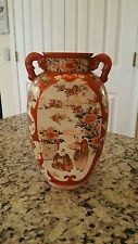 Large Antique Kutani Satsuma Asian Vase Porcelain Pottery Japanese Meiji Period