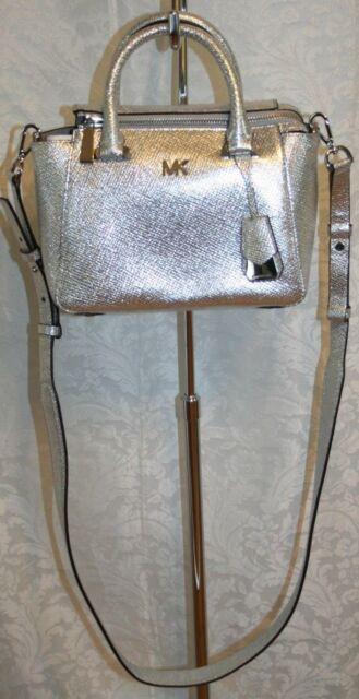 37ea107013d218 Michael Kors 30S8MY5M1K Nolita Mini Messenger Bag Crossbody Silver ...
