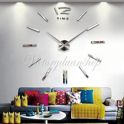 NEW Luxury Wall Clock Living Room DIY 3D Home Decoration Mirror Large Art Design