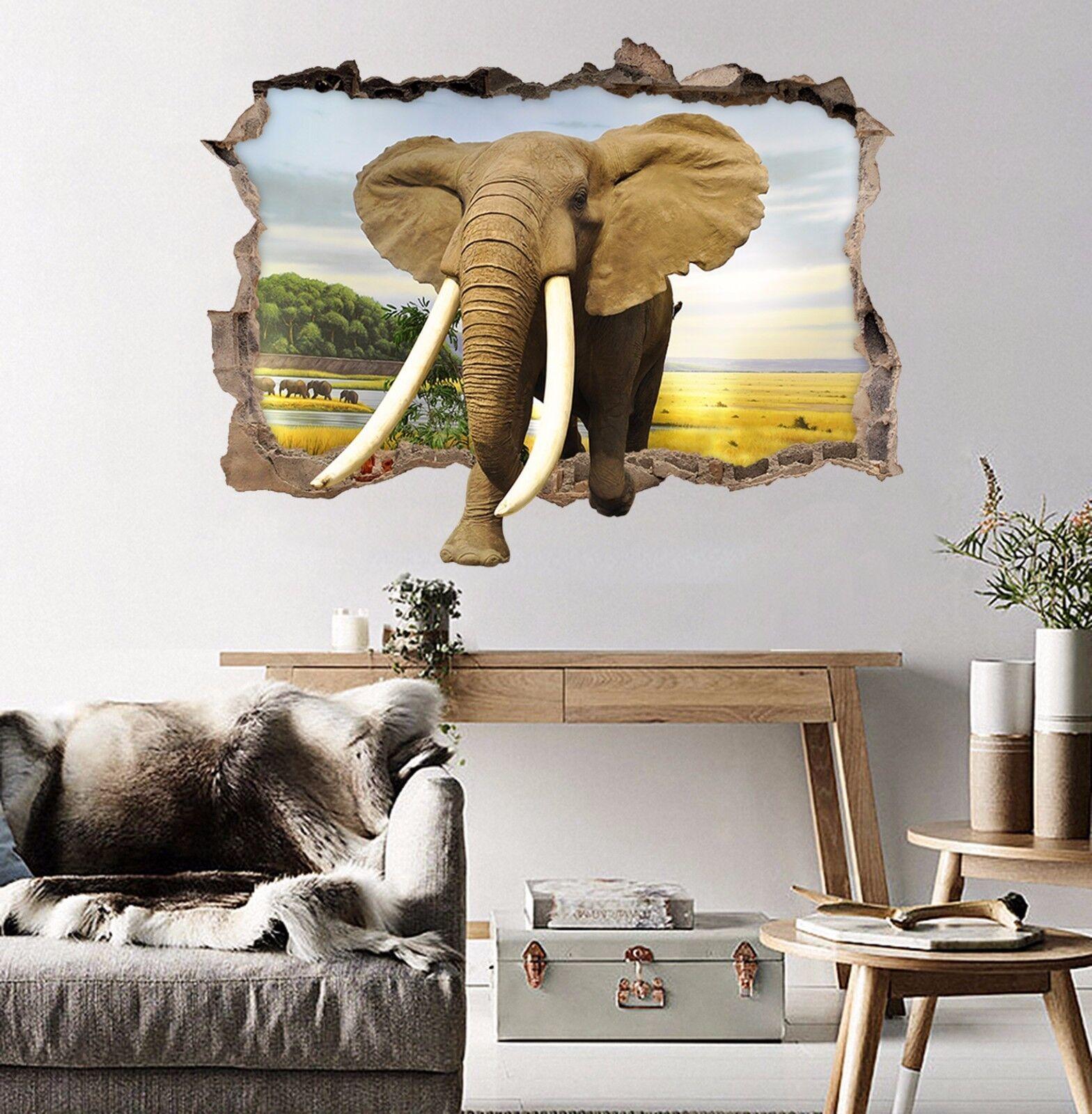 3D Elefanten 559 Mauer Murals Aufklebe Decal Durchbruch AJ WALLPAPER DE Lemon