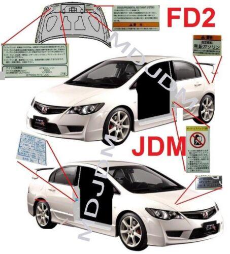 Oem Warning Caution Label Sset HONDA CIVIC Type R  FD2 Si FD1 Genuine Parts
