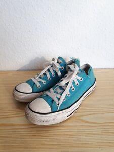 Details zu Converse Chucks Gr. 38 UK 5 türkis blau weiß All Stars Skater used