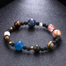 Weave Bracelet Galaxy Solar System Eight Planets Theme Natural Stone Beads