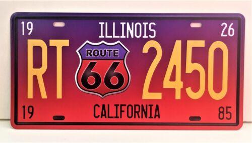 """Plaque Métal Vintage Route 66 /""""Illinois California/"""" Neuf Emballé"""