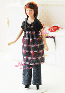 Doll Long straight hair Young Girl Porcelain Poseable 1/12 Dollhouse Miniature