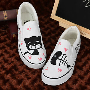 Women-Fashion-Hand-Painted-Cute-Kittens-Cat-amp-Fish-Slip-on-White-Canvas-Shoes