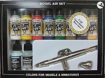 AV Vallejo Model Air Set - Ultra Airbrush + 10 Basic colors