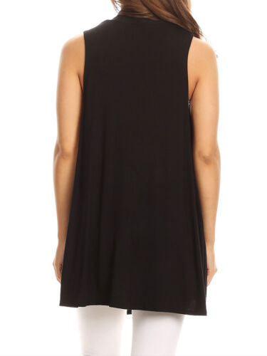 FashionOutfit Women/'s Open Front Draped Neck Sleeveless Cardigan Made in USA