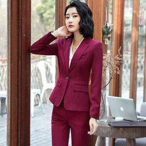 999553a218 Dettagli su Tailleur completo donna rosso giacca a manica lunga e pantalone  slim cod 7153