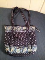 Rare Vera Bradley Villager Tote Bag Purse Clutch Handbag in Retired Seaport Navy