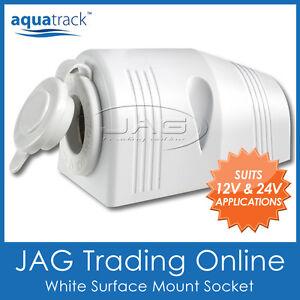 12V~24V WHITE SURFACE MOUNT CIGARETTE POWER SOCKET ADAPTER - BOAT/CARAVAN/4x4