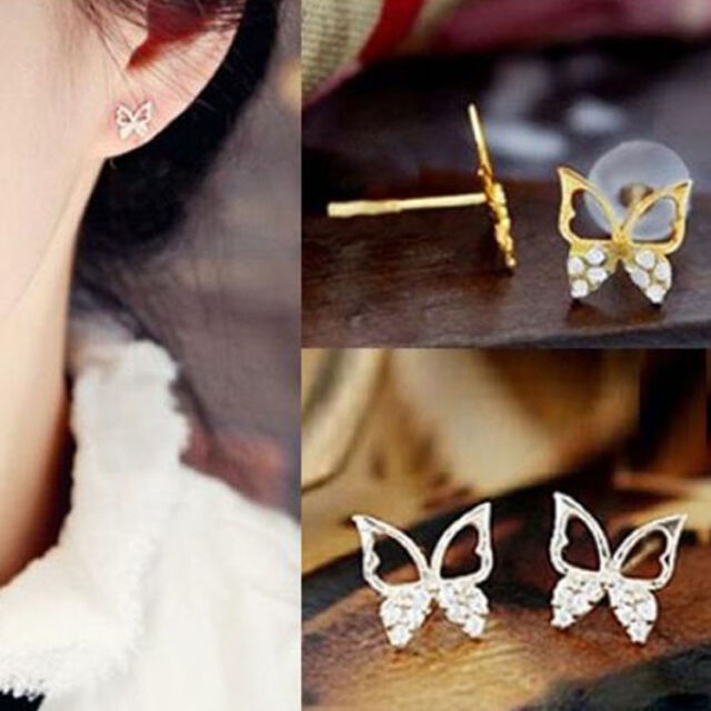 New Fashion Cute Ladies Girls Rhinestone Butterfly Ear Stud Earrings Jewelry