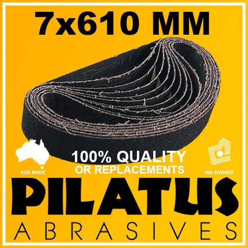 10 PACK - 7x610MM SANDING BELT 80 GRIT - SILICON CARBIDE FOR GLASS LINISHING