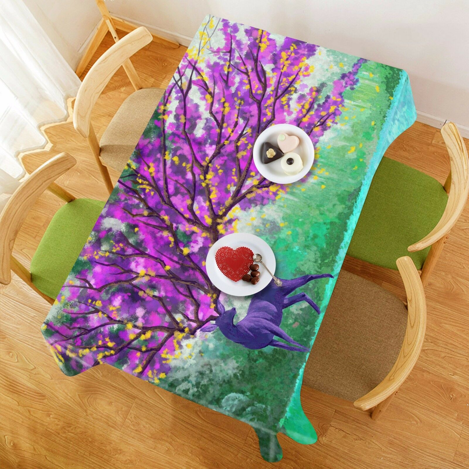 3D Deer tree97 Tablecloth Table Cover Cloth Birthday Party Event AJ WALLPAPER AU