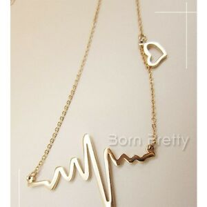 1Pc Gold Electrocardiogram Pendant Necklace Short Collar-bone Necklace