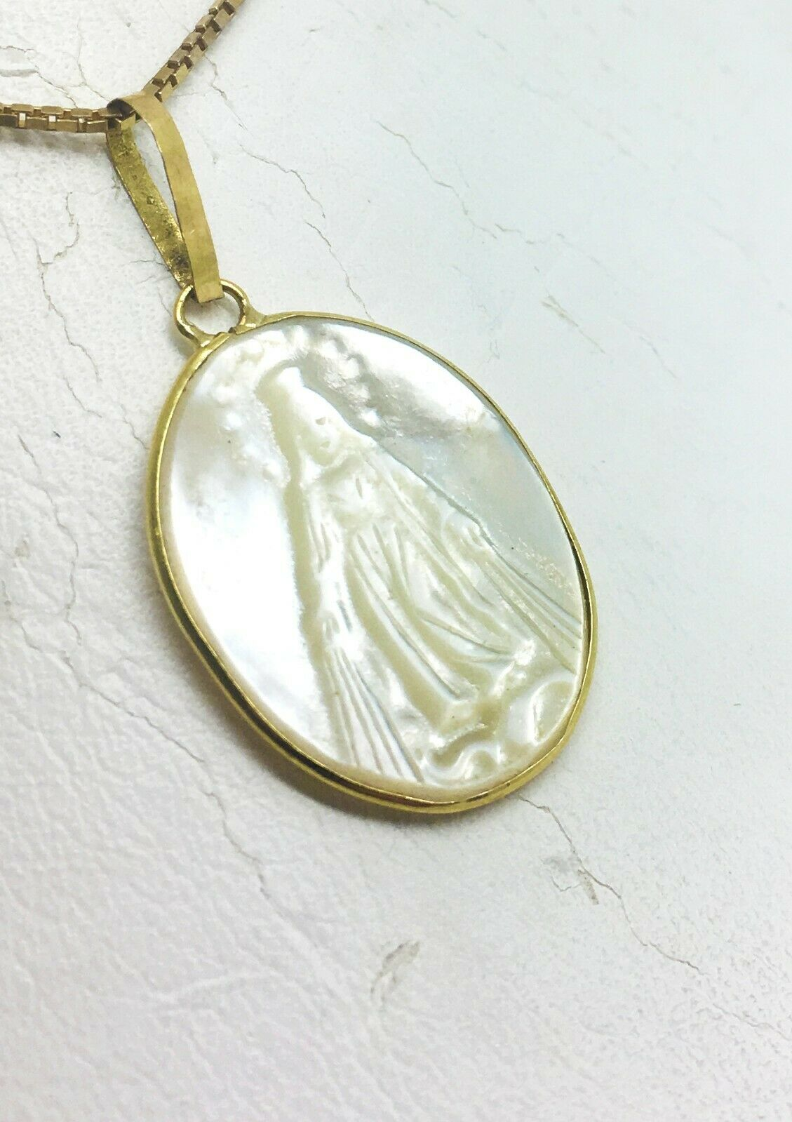 Santa Maria Engraved on Mother of Pearl in 14K Yellow gold Setting Pendant