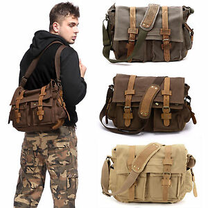 Mens-Vintage-Canvas-Leather-Satchel-Army-Military-Messenger-Shoulder-School-Bag