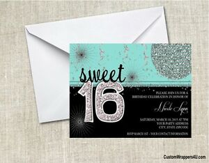 Image Is Loading Sweet Sixteen Birthday Party Invitations Invites Personalized Custom