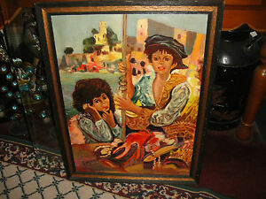 Vintage-Spanish-Dominican-Oil-Painting-On-Canvas-Signed-Fardella-Seaport-Girls