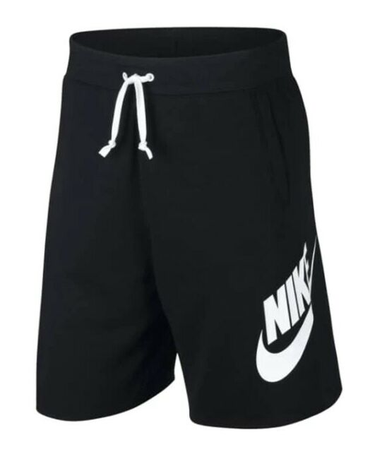 Nike Men's NSW Alumni Sweat Shorts Cotton Drawstring Black White Size S NEW!