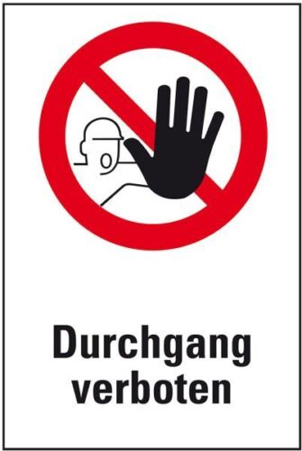 Verbots-Kombischild Durchgang verboten ASR//DIN Kunststoff 200x300mm