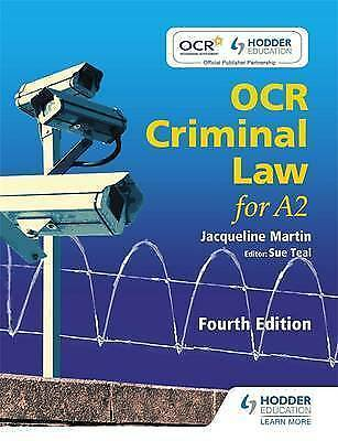 OCR Criminal Law for A2 Fourth Edition by Sue Teal, Jacqueline Martin (Paperbac…
