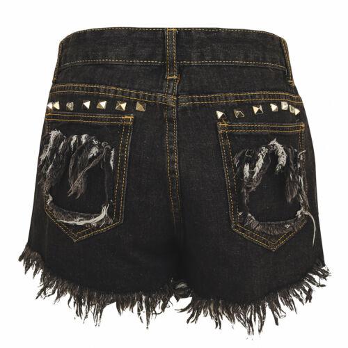 Jean Gris Anthracite Femme Shorts Hot Pantalon Déchiré Effiloché Studs embellissements