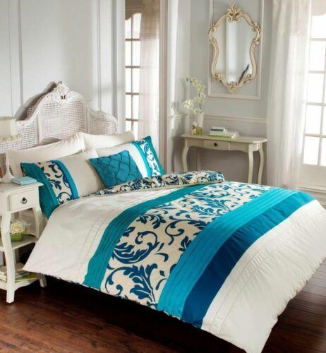 Scroll Pintuck Stripe Modern Stylish Duvet Quilt Cover /& Pillowcase Bedding Set