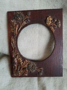 Jugendstil/Arts & Crafts Messing/Kupfer Blumen Design Holz Fotorahmen