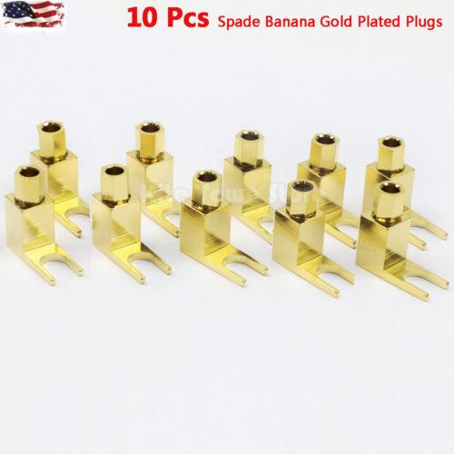 10x Gold Plated Spade Banana Plug for Mcintosh Amplifier Eico tube Adapter US