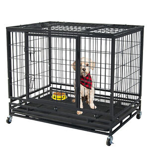 "46"" Pet Dog Cage Heavy Duty Strong Metal Wire Crate Kennel Playpen for Training"